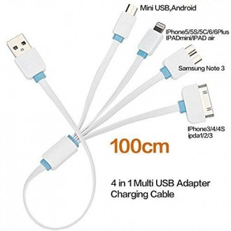 4 in 1 USB Data Cable for iPhone/Samsung Phones (1m)