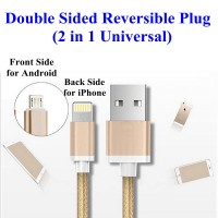 2 in 1 Double Sided Reverse Micro/Lightning USB Data Charge Cable